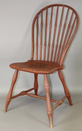 A Rare 18th C Bowback Windsor Sidechair Charleston,  Ma Area In Old Red Wash photo