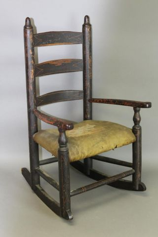 Great William & Mary 18th C Ct Child ' S 3 Slat Armchair In Black Paint photo