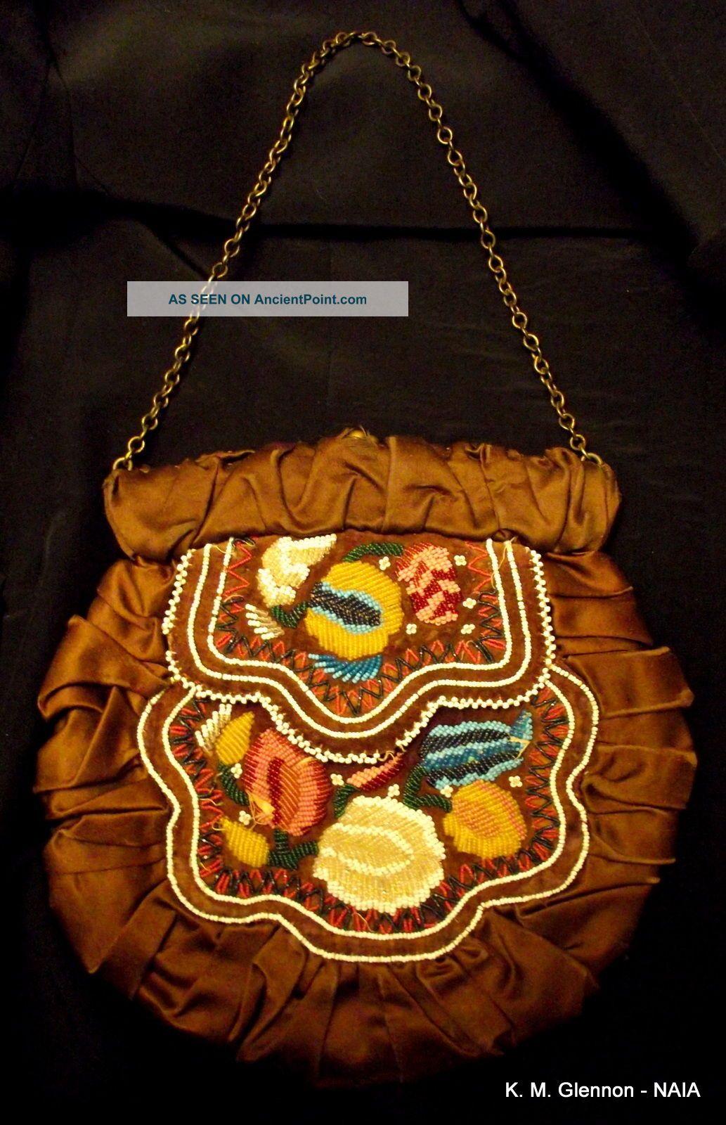 Iroquois (mohawk) C.  1850 Flat Bag,  Repurposed C.  1890 Native American photo