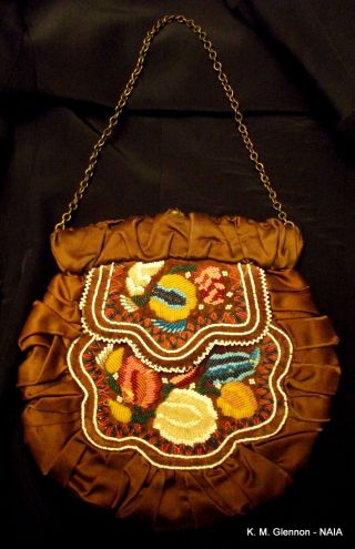 Iroquois (mohawk) C.  1850 Flat Bag,  Repurposed C.  1890 photo