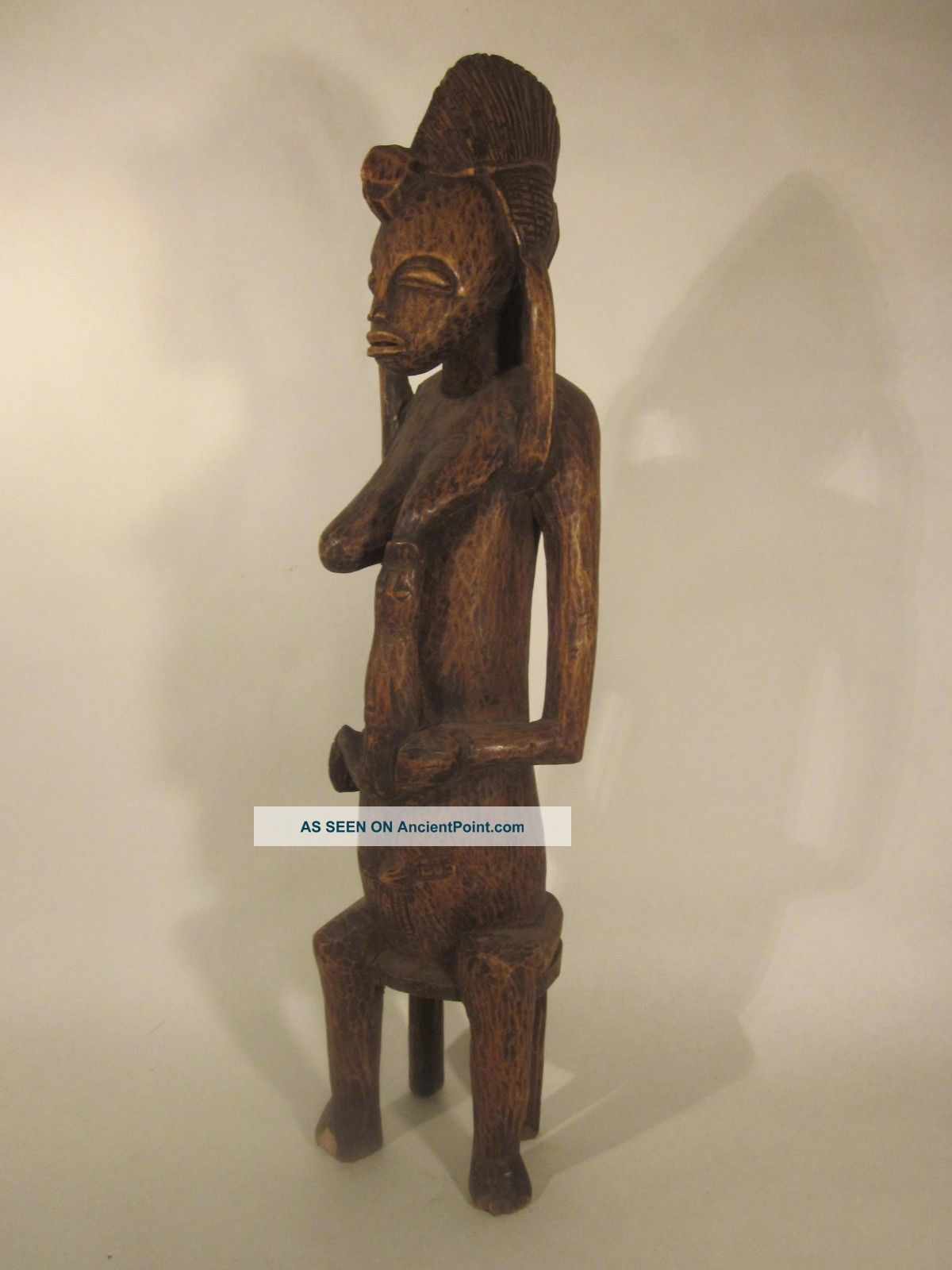 Senufo Fertility Figure,  Mid - Century,  Carved On Heavy Wood,  Ivory Coast,  Mali Sculptures & Statues photo