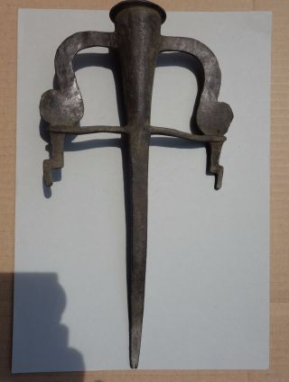 Ancient Roman - Middle Ages Bronze Removable Wall Torch Holder photo