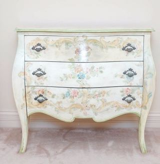 Painted Louis Xv Style Bombe Chest Of Drawers photo