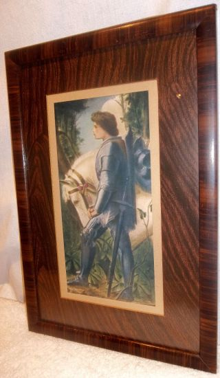 Antique George Frederick Watts Sir Galahad Knight Print In Orig.  Wood Grain Frame photo