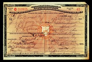 Prohibition Prescription Antique 9/2 1925 Small Whiskey Doctor Pharmacy Bar Rx photo
