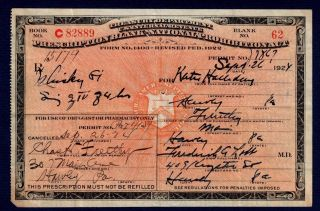 Prohibition Prescription Antique 9/26 1924 Whiskey Doctor Pharmacy Speakeasy Bar photo