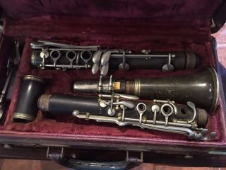 Antique Wood Clarinet  The Woodwind Co.  York  Art Grafy Nº60118 68 Cm photo