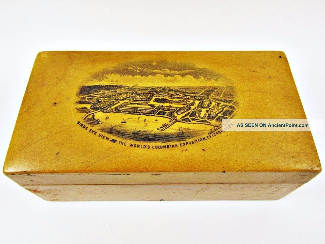 1893 Columbian Expo Chicago World ' S Fair Souvenir Spool Thread Box Sewing Kit Baskets & Boxes photo