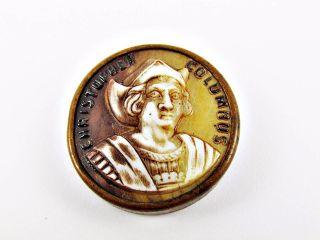 1893 Columbian Exposition Chicago World ' S Fair Souvenir Columbus Cameo Button photo