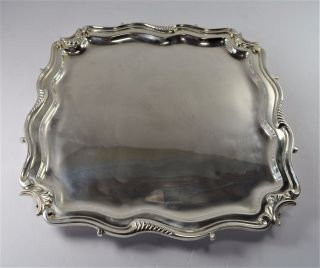 London England Sterling Silver Footed Tray - Heavy Gauge - (55 Oz) - Nm photo