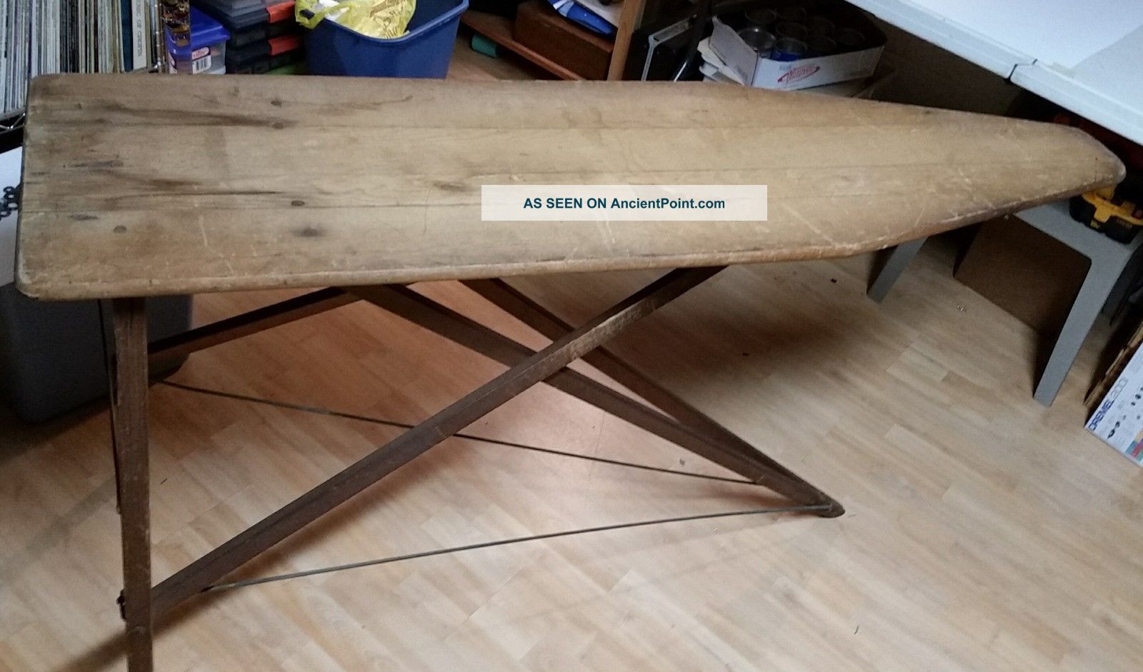 Vintage Folding Wood Ironing Board Wooden Table Bench Decor Antique