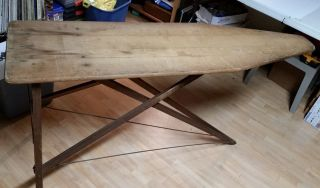 Vintage Folding Wood Ironing Board Wooden Table Bench Decor Antique Primitive photo