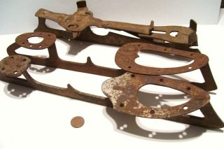 3 Antique Primitive Ice Skates Rusted Vintage Christmas Outdoor Decor photo