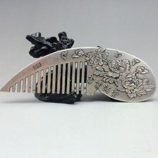 Chinese Ancient Tibet Silver Handmade Sculpture Plum Flower Comb Nr photo