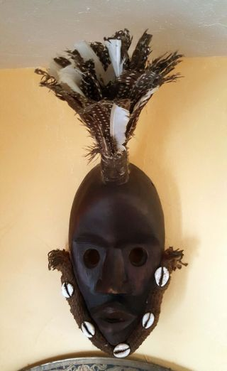 Hand Carved Wood African Tribal Ceremonial Mask - Dan People photo