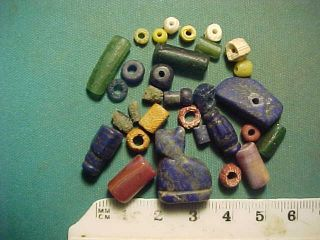 30,  Ancient Beads Circa 1000 Bc - 700 Ad,  Egyptian Lapis Lazuli Cat Amulet photo