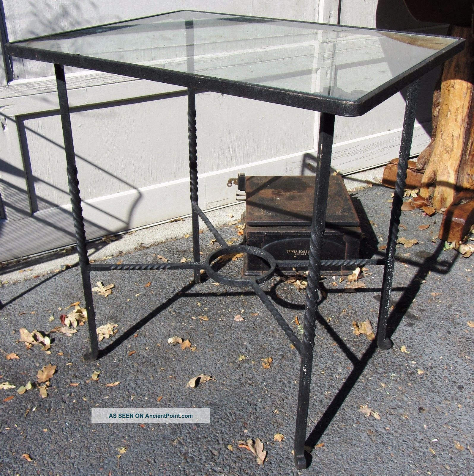 Exceptional Antique / Vintage Hand Wrought Iron Side Table With Glass Top Art Deco photo