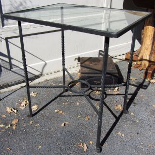 Exceptional Antique / Vintage Hand Wrought Iron Side Table With Glass Top photo