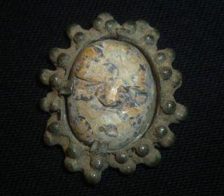Viking Ancient Artifact - Bronze Amulet - Stone Face Of God Circa 700 - 800 Ad photo