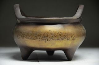 Delicate Chinese Copper Handwork Flower Incense Burner photo