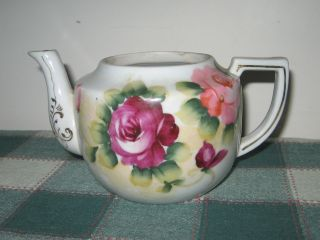 Antique Porcelain D - Handled Teapot No Lid Purple & Pink Roses Hand Painted Japan photo