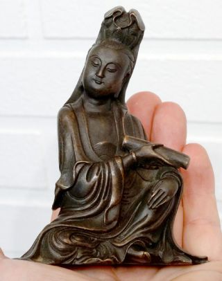 1800 ' S Antique Chinese Bronze Seated Guanyin Buddha Figure Kwanyin Kuanyin China photo