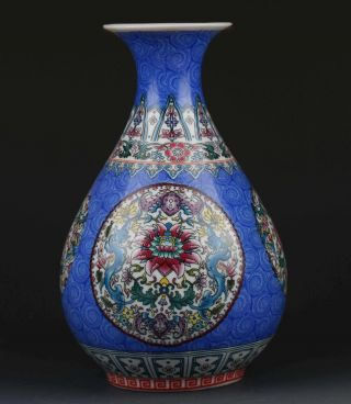 Chinese Famille Rose Porcelain Hand - Painted Flower Vase W Qianlong Mark G272 photo