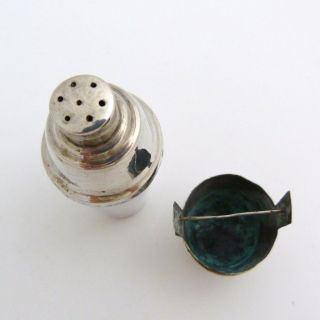 Early 20th Century Chinese Silver Miniature Cocktail Shaker Pepper & Bucket Salt photo