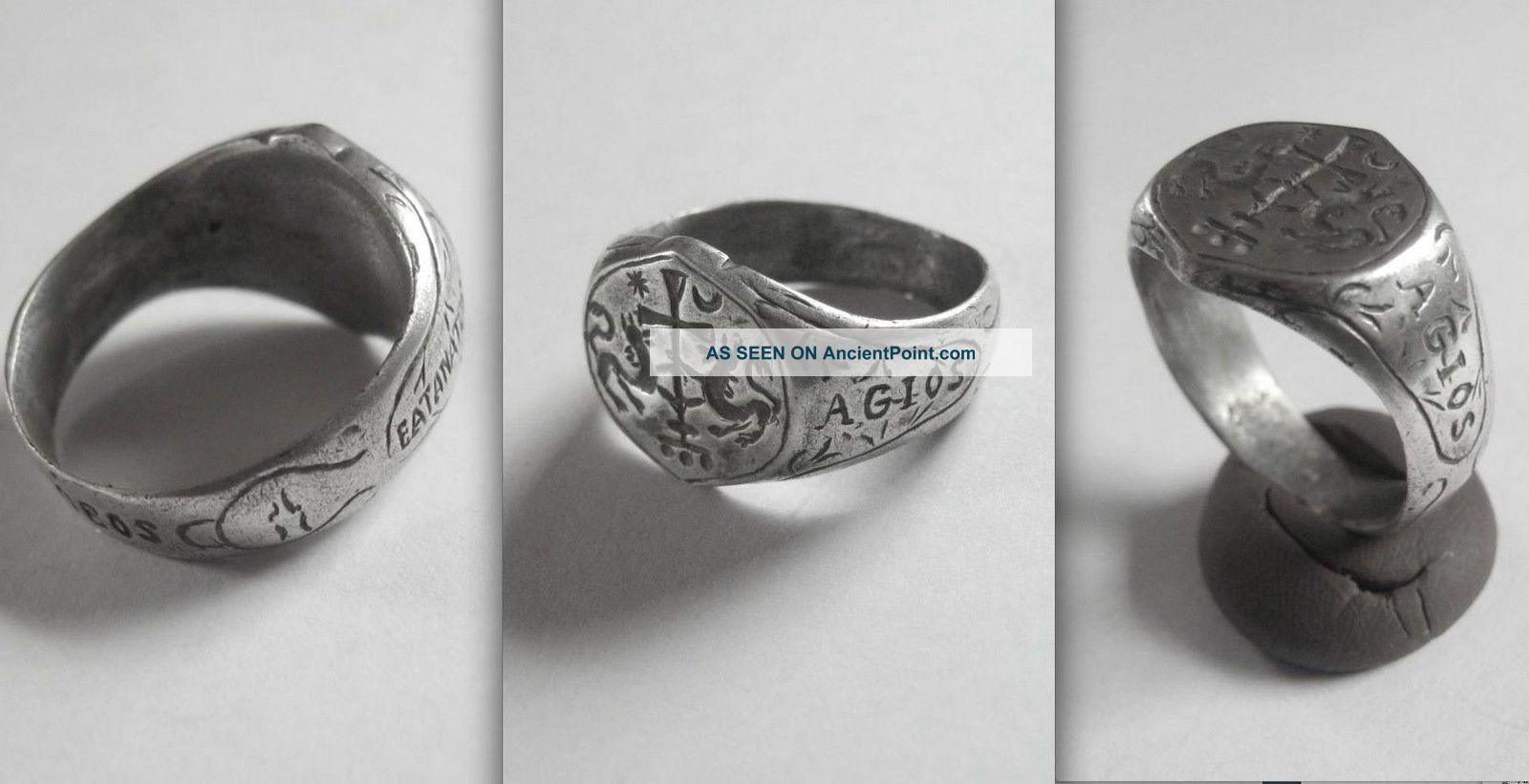 Med.  Knights Crusader Christian Silver Ring