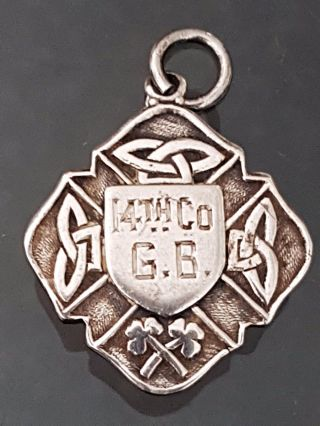 Antique Irish Sterling Silver Blank Watch Fob Medal Dublin 1941 Celtic Design photo