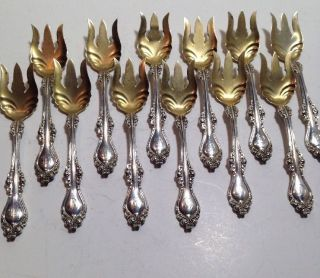 12 Alvin Lorraine (1904) Sterling Silver Ice Cream Forks - Gold Wash - Monograms photo