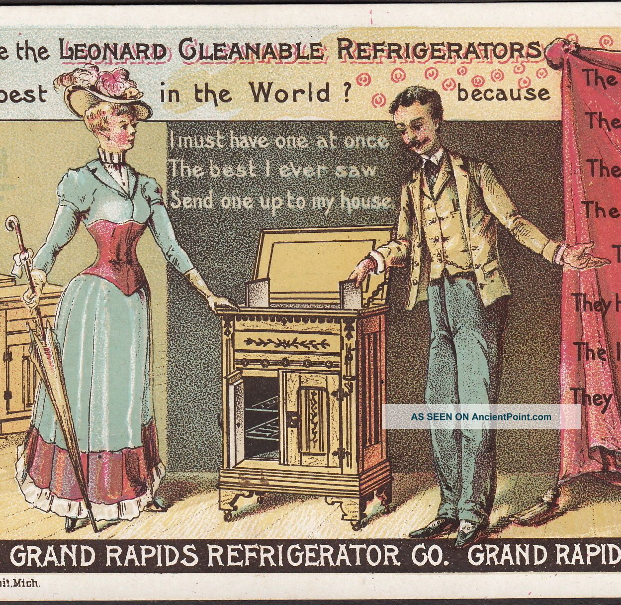 Leonard Refrigerator Ice Box Grand Rapids Mi 1800 ' S Victorian Advertising Card Ice Boxes photo