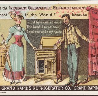 Leonard Refrigerator Ice Box Grand Rapids Mi 1800 ' S Victorian Advertising Card photo