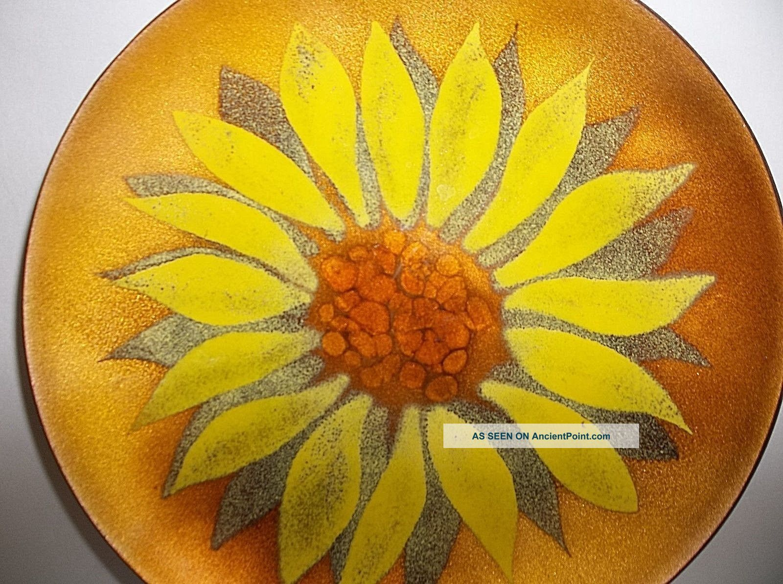 Vintage Mid Century Modern Copper Enamel Plate Pin Tray Yellow Sunflower 6