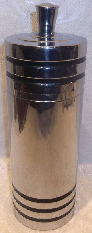 Chase Art Deco Cocktail Shaker Machine Age Chrome & Black Rings Complete photo
