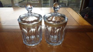 2 Vintage Apothecary Jars Colonial Panel Star Bottom Ribbed Gold Band 6.  75