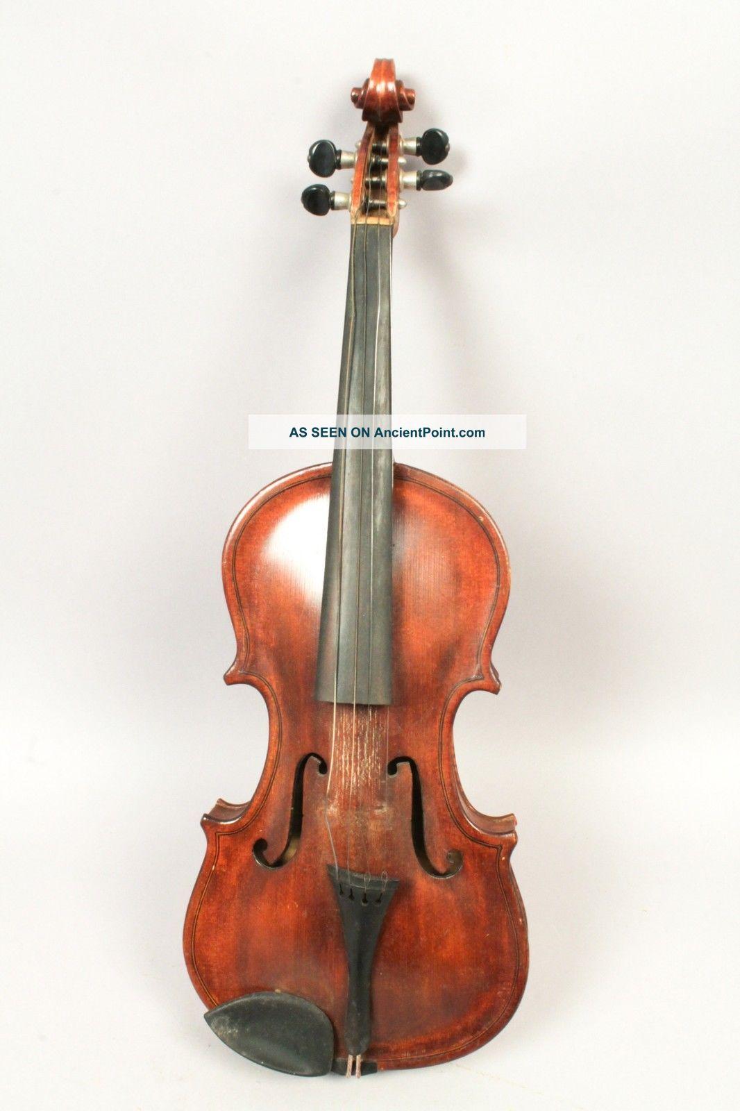 Antique C1903 Violin American Folk Art John Alling W Bow & Case String photo