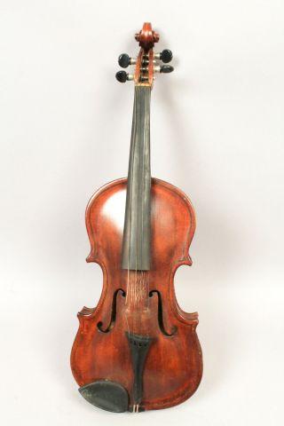 Antique C1903 Violin American Folk Art John Alling W Bow & Case photo