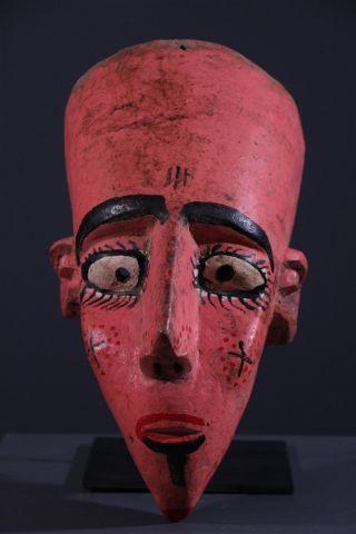 Mali: Rare Tribal African Bambara Pink Bozo Mask - 36 Cm. photo