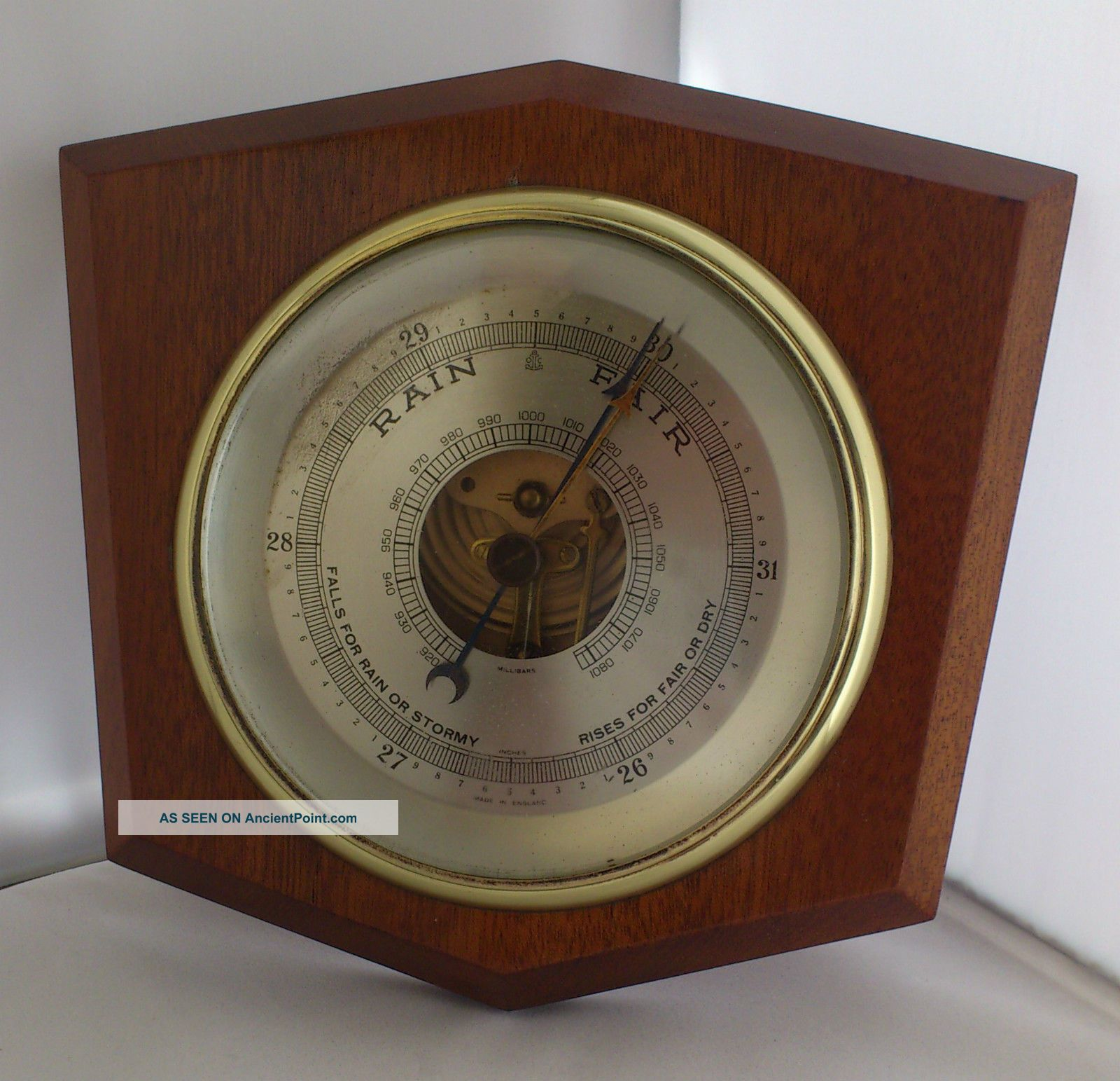 Vintage Wooden Shield Shaped Barometer Other Antique Science Equip photo