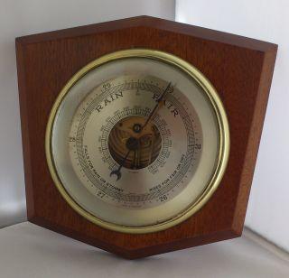 Vintage Wooden Shield Shaped Barometer photo