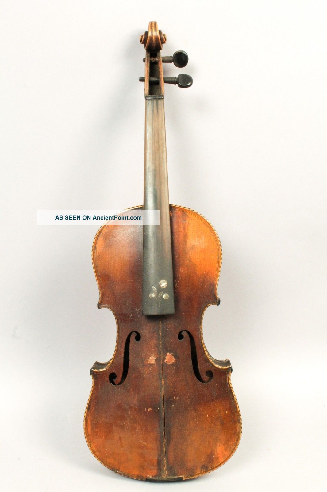 Antique 19c Violin For Restoration Mop Inlay Unusual Bow W Bovine Horn Frog String photo