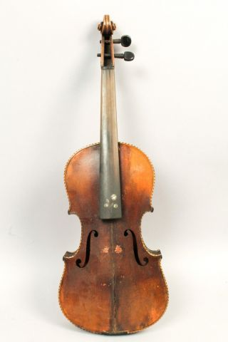 Antique 19c Violin For Restoration Mop Inlay Unusual Bow W Bovine Horn Frog photo