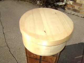 Useful And Collectible Modern Round Wooden Cheese Box. photo