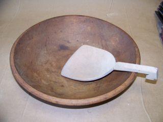 Primitive Old Farm House Wood Dough Butter Bowl & Paddle photo