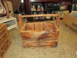 Vintage Farm Tote Wood Berry Box Primitive Carrier Handle photo