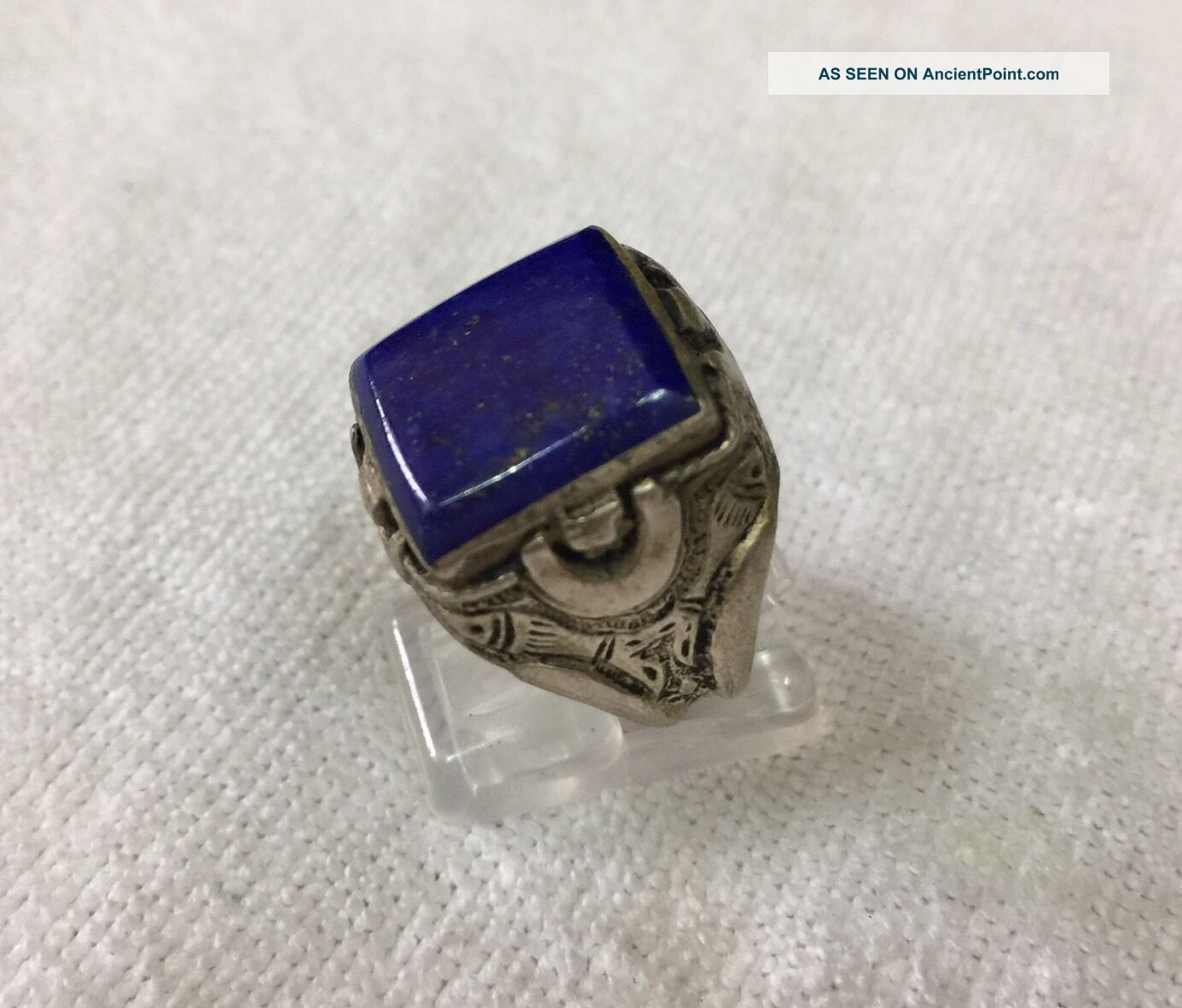 Men ' S Engraved Ring Near Eastern Vintage Medieval Square Lapis Afghan Antique 9 Islamic photo