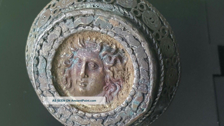 Massive Bronze Medusa Coin Ring Roman photo
