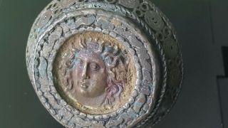 Massive Bronze Medusa Coin Ring photo