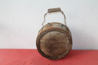 Antique Authentic Primitive Cwe Handmade Canteen Flask Keg Iron Banded. photo